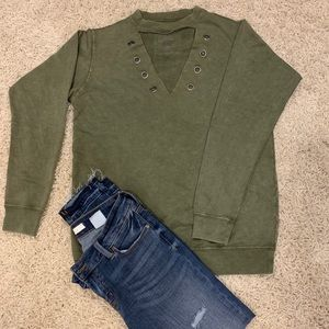 Awake cutout sweatshirt army green size Large